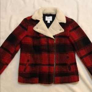 An old navy plaid Sherpa lined moto jacket